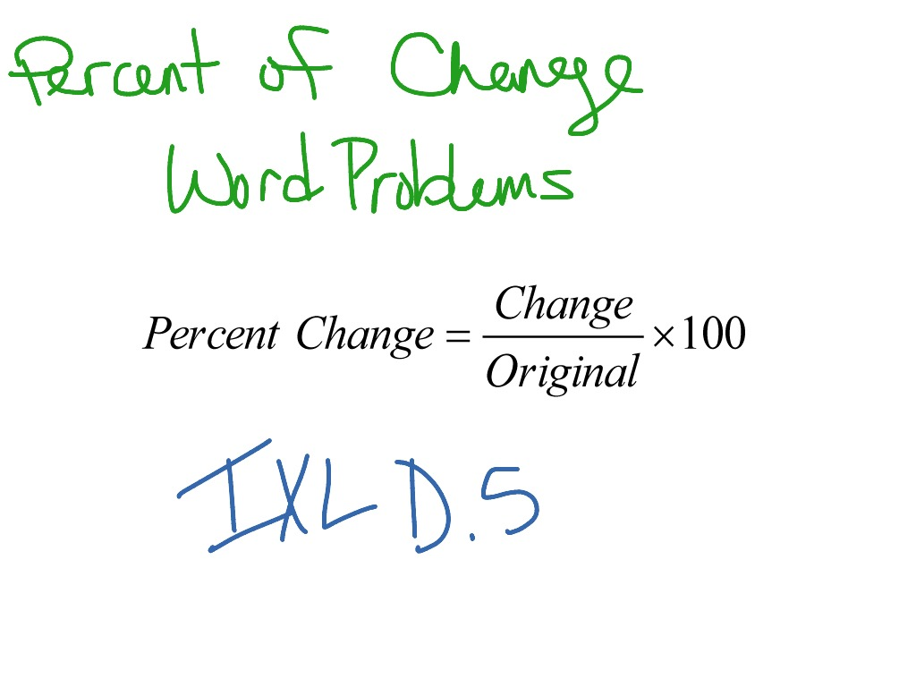 Percent Of Change Word Problems