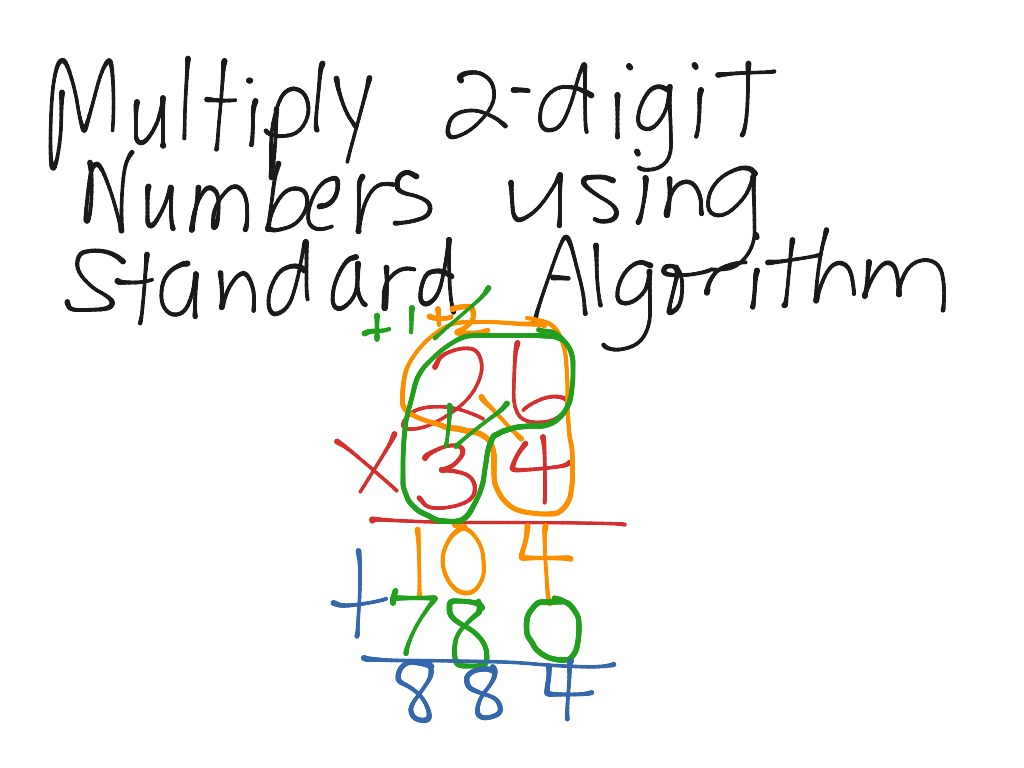 Multiply 2 Digit Numbers Using Standard Algorithm