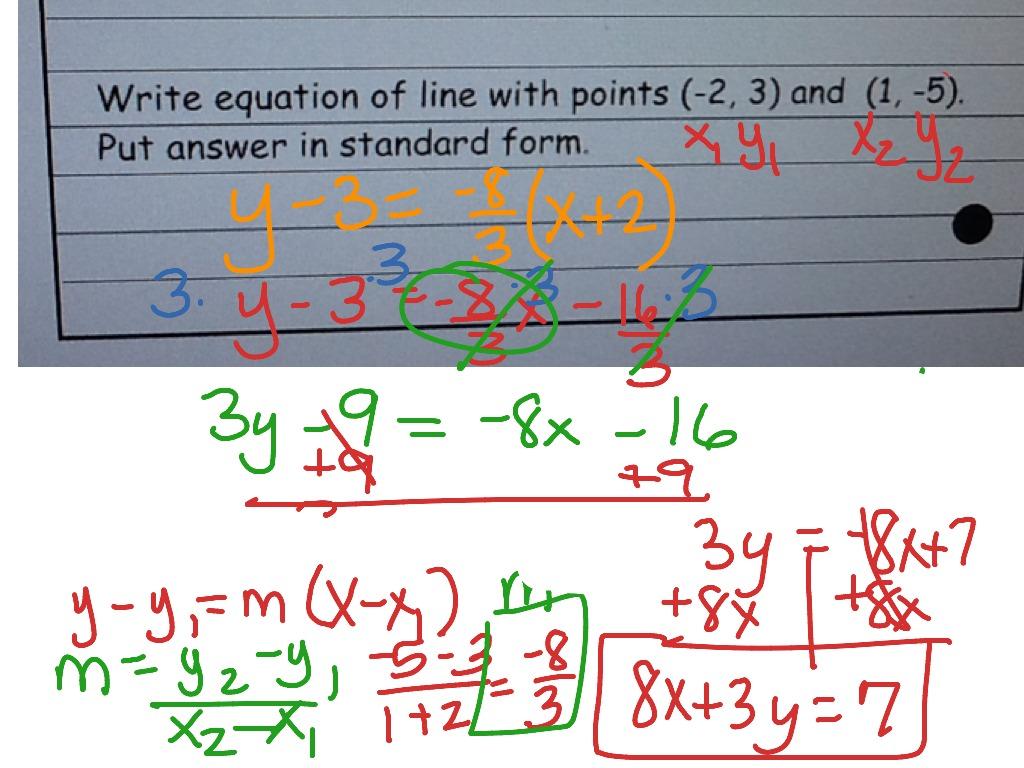 Use Point Slope Formula To Write Linear Equations