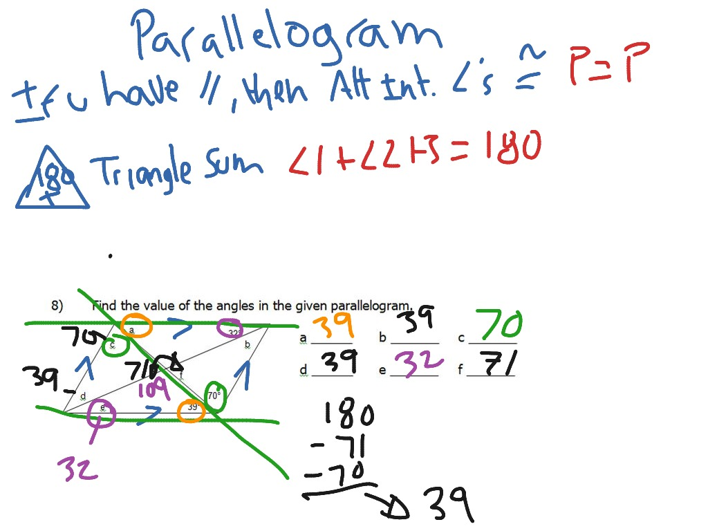 Solving Angles Parallelogram