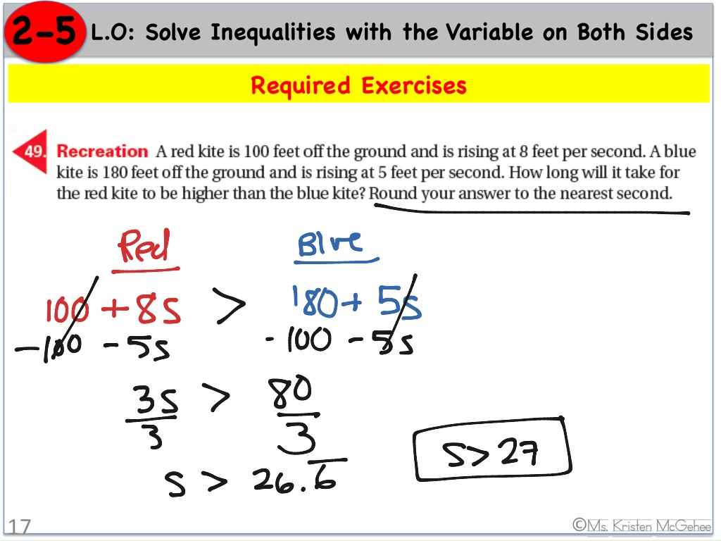 Inequalities With The Variable On Both Sides Word Problem 3