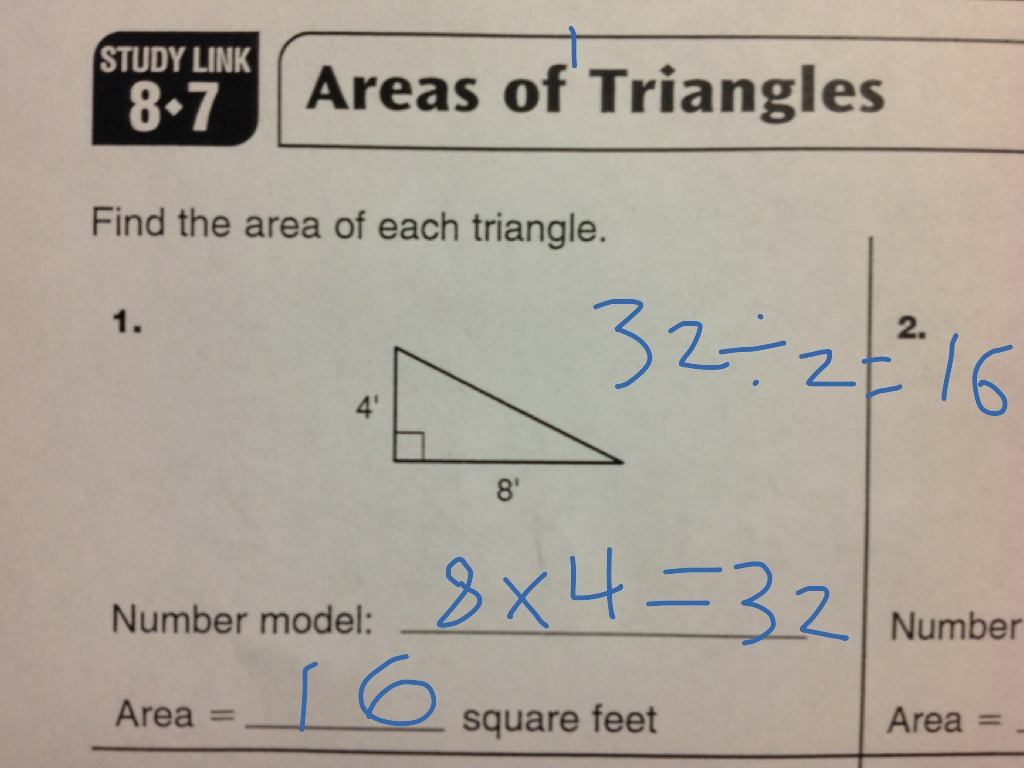 Study Link 8 7 Areas Of Triangles