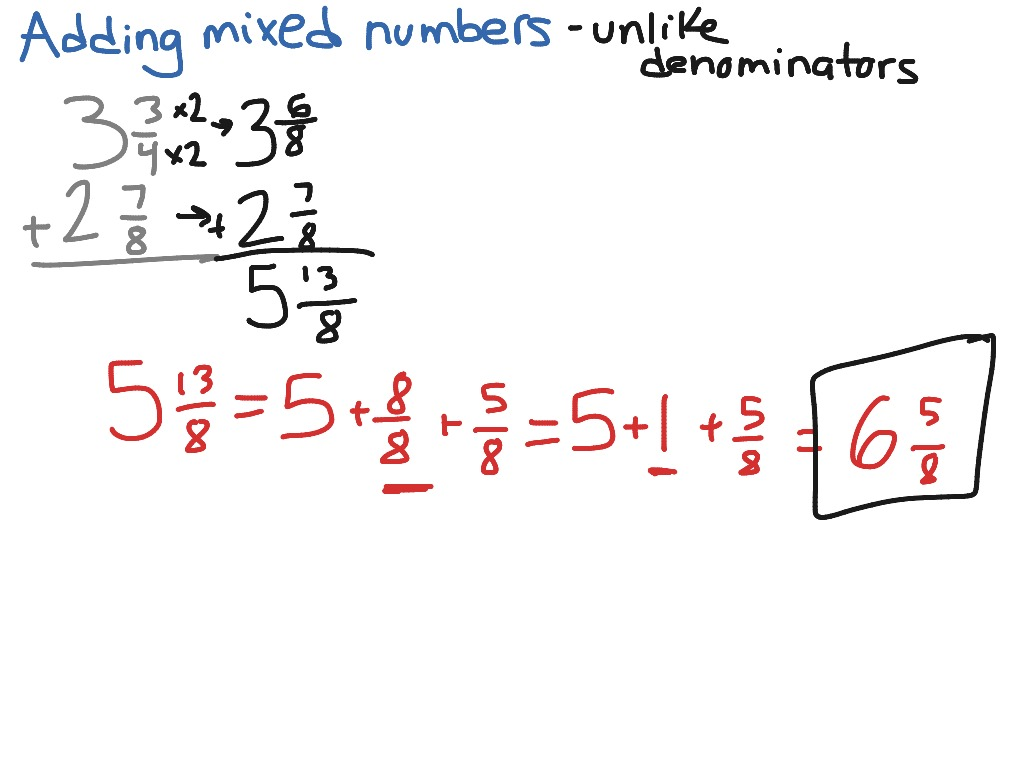 Adding Mixed Fractions With Unlike Denominators Worksheets