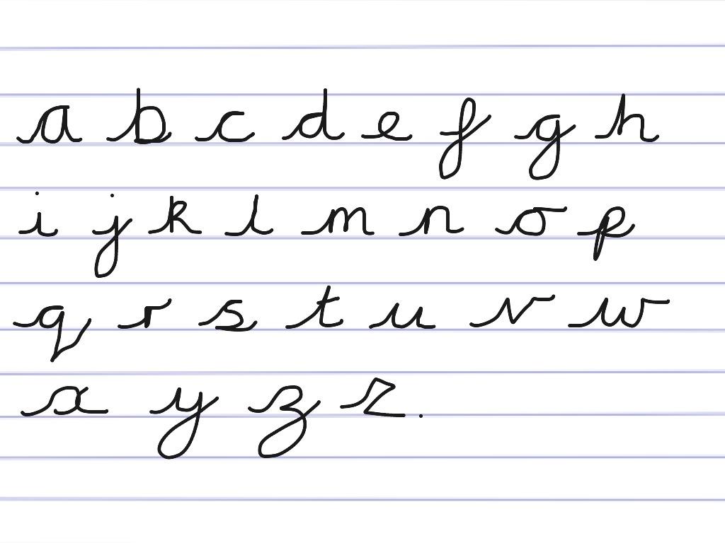 Alphabet Words In Cursive