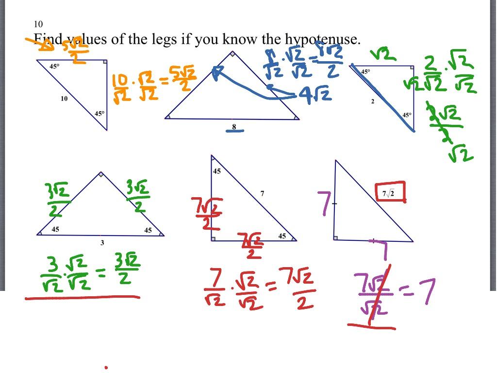 45 45 90 Triangle Worksheet Kuta