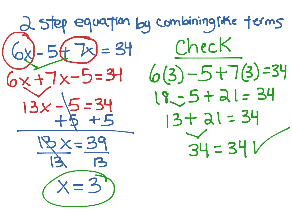 2 Step Equation By Combining Like Terms