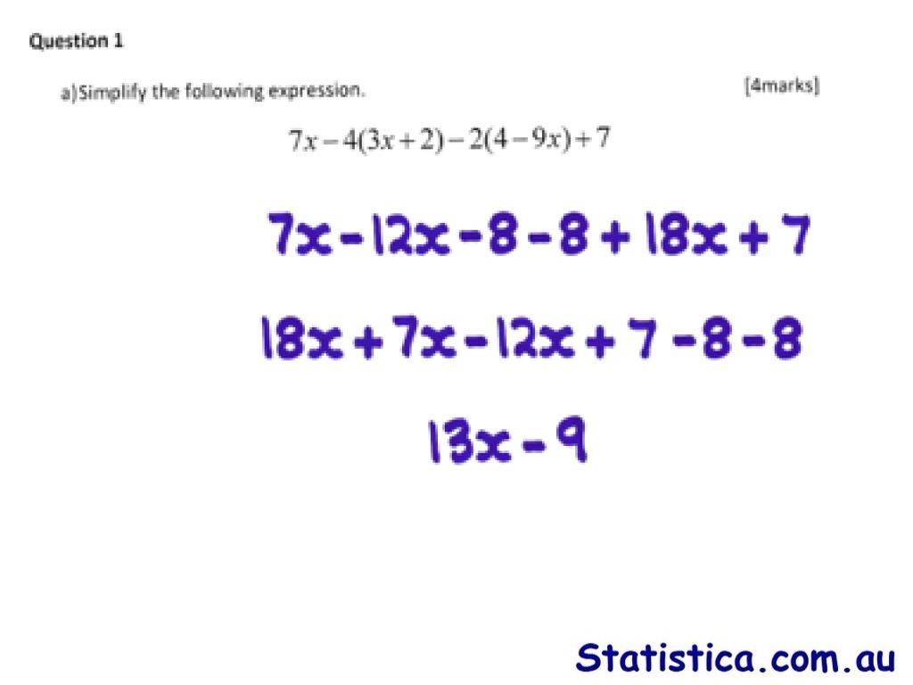 Question 1 Simplify Expression M135