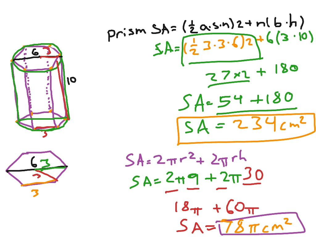 How To Find The Surface Area Of A Cylinder And Hexagonal