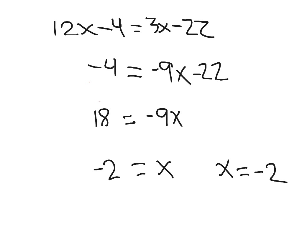 Solving Multi Step Equations With Variables On Both Sides
