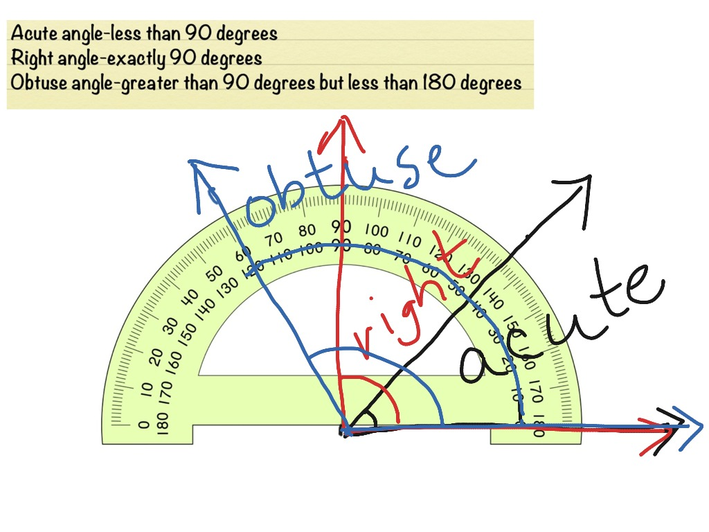 Using A Protractor And Examples Of Acute Right And