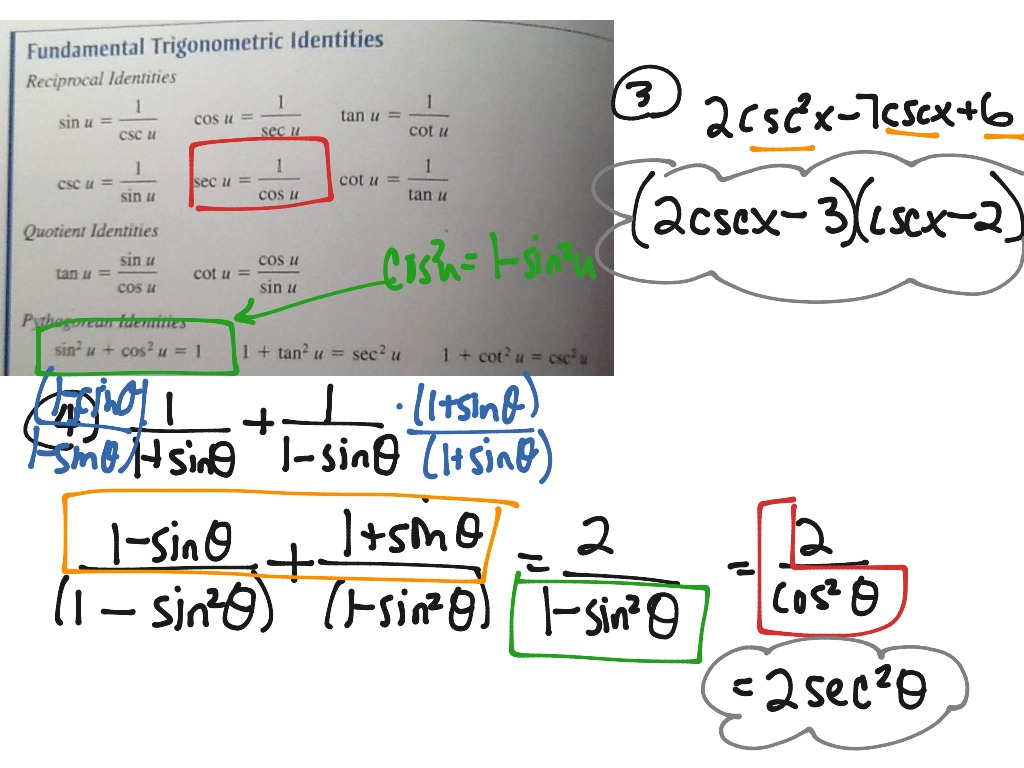 Basic Trig Identities Simplifying Expressions