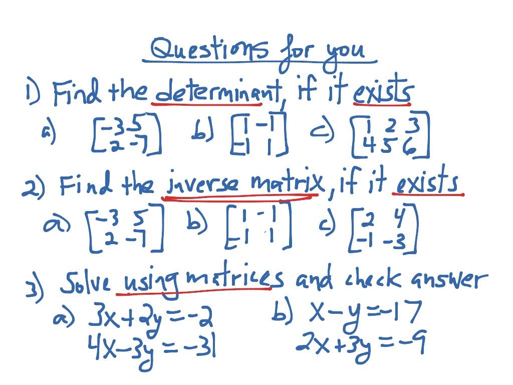 4 4 Amp 4 5 Inverse Matrices