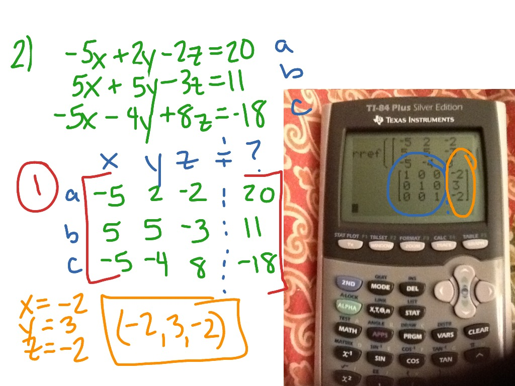 Solving Systems Of Equations With 3 Variables Using