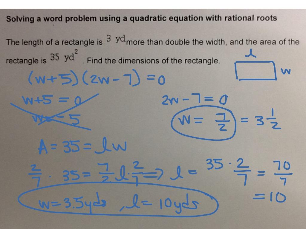 Mat Aleks Module 6 Solving A Word Problem Using A Quadratic Equation With Rational Roots