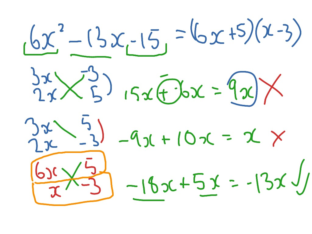 Cross Multiply Quadratic Factorising Example