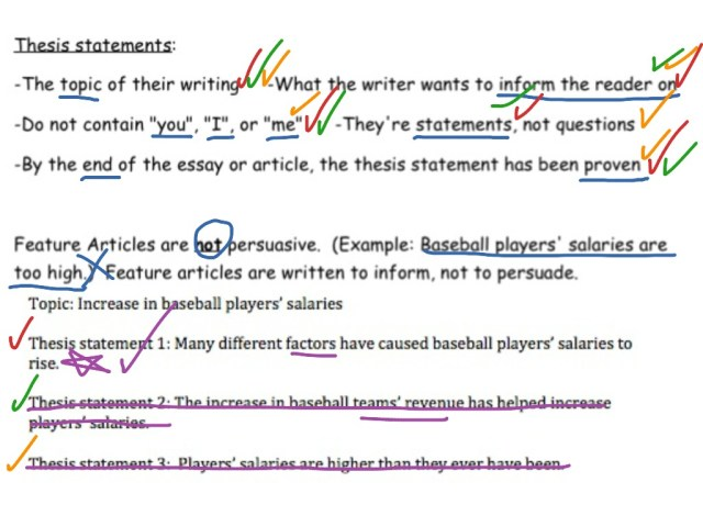 Feature Articles: Thesis Statement  english, Writing  ShowMe