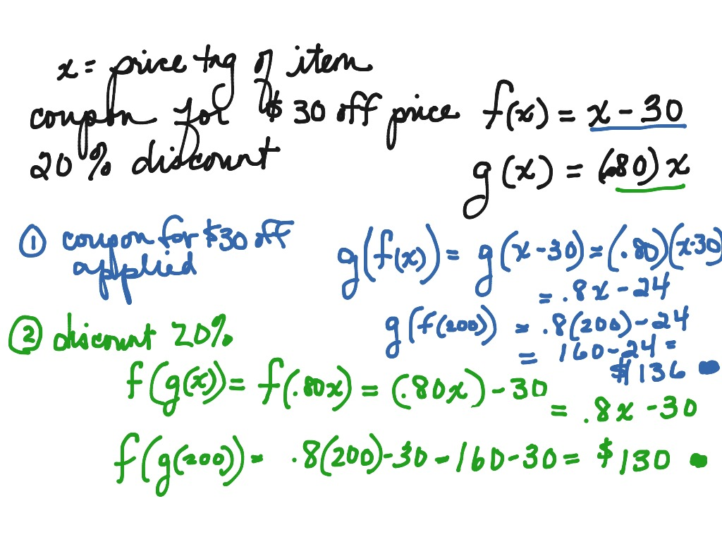 Algebra 2 Section 3 3 Function Operations And Composition