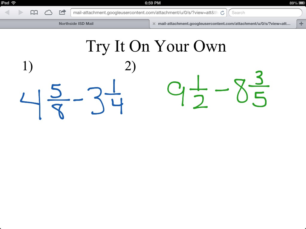 Subtracting With Fractions Whole Numbers Amp Mixed Numbers