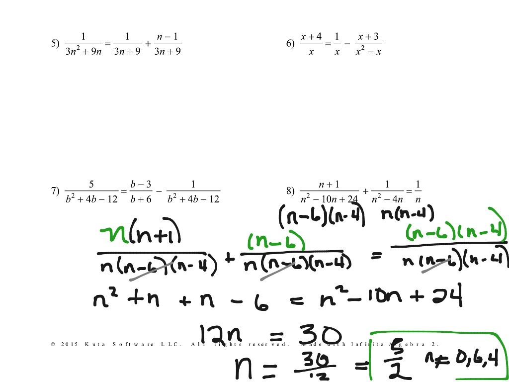 Solving Rational Equations Worksheet Kuta Software