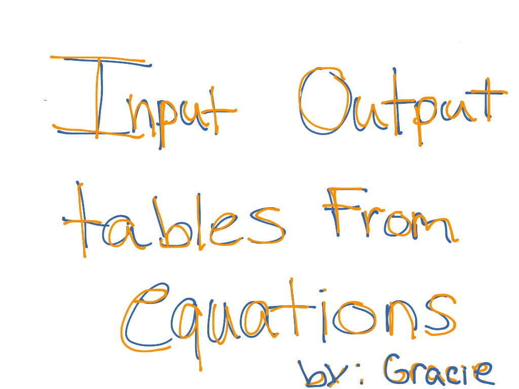 Input Output Tables By Gracie