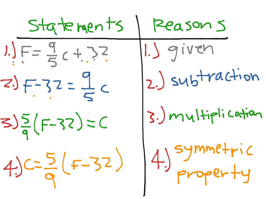 Two Column Proof And Algebraic Proof