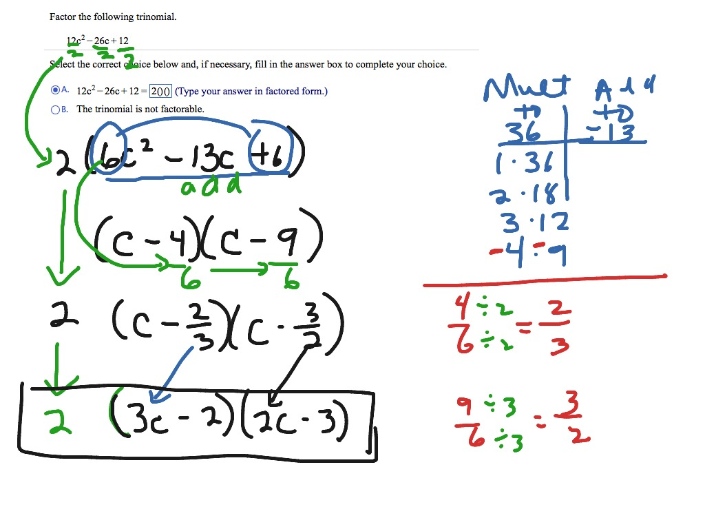 Factoring Using Divide And Slide With A Gcf