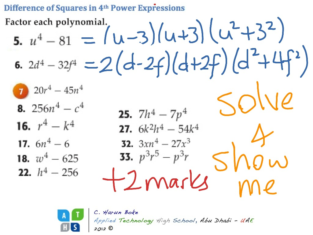 Difference Of Squares With 4th Power