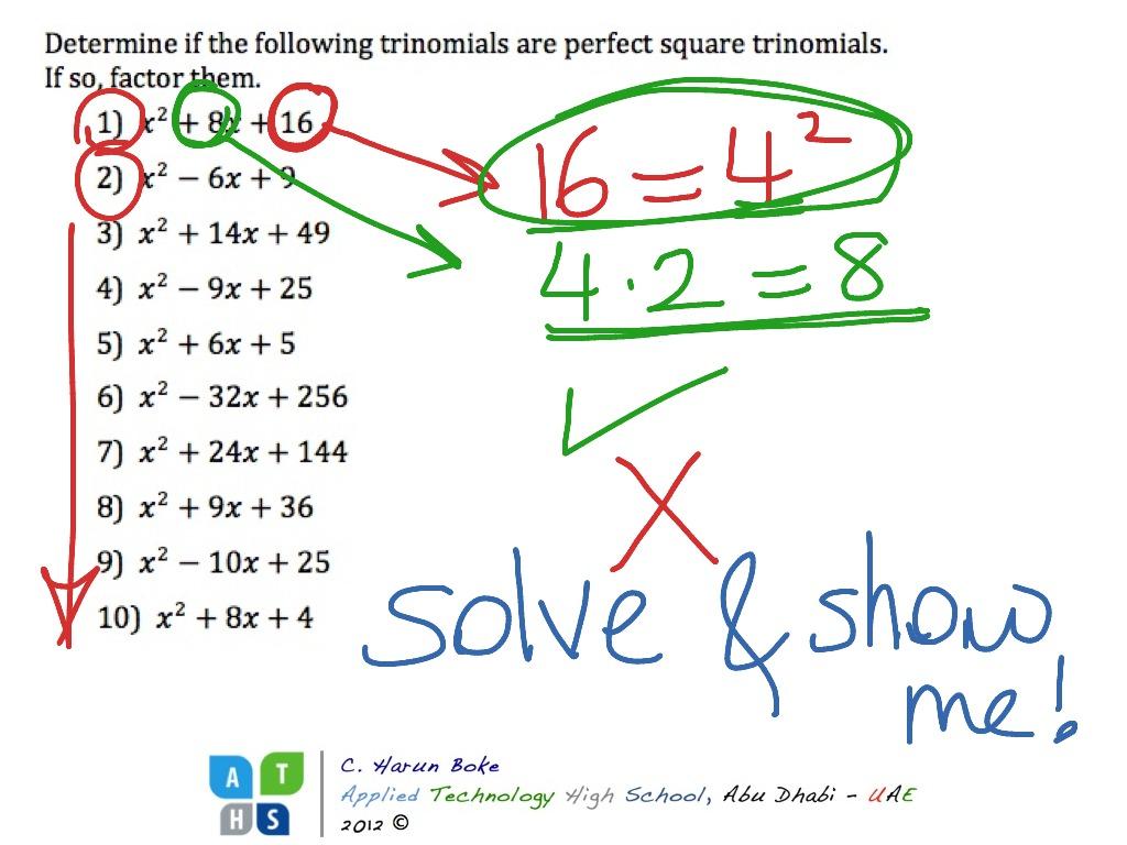 Determining Perfect Square Trinomials
