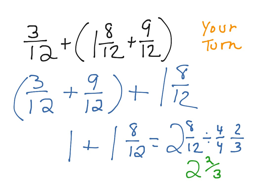 Fractions And Properties Of Addition 7 9