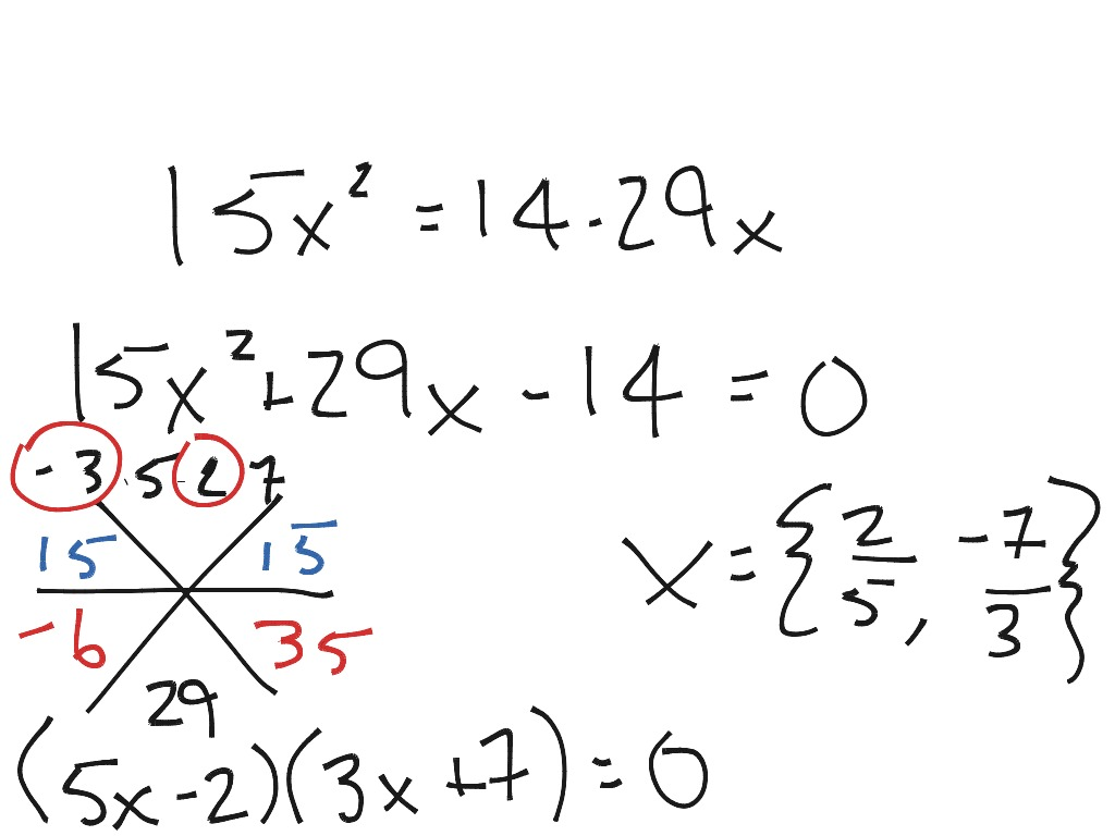 Factoring To Solve Quadratic And Cubic Equations