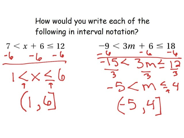 17-17 Compound Inequalities and Interval Notation  Math, Algebra