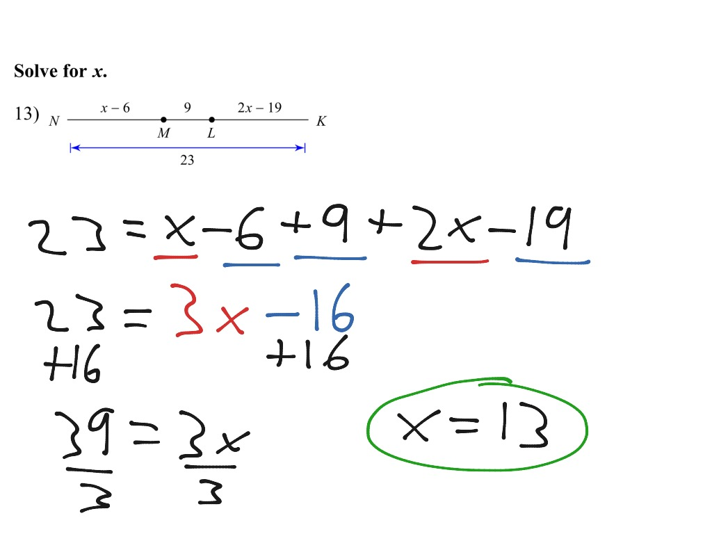 Segment Addition Postulate And Solving For X