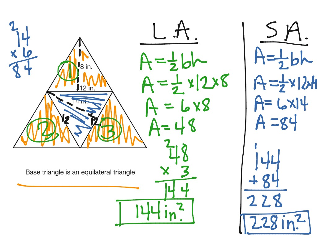 Surface And Lateral Area Of Pyramids