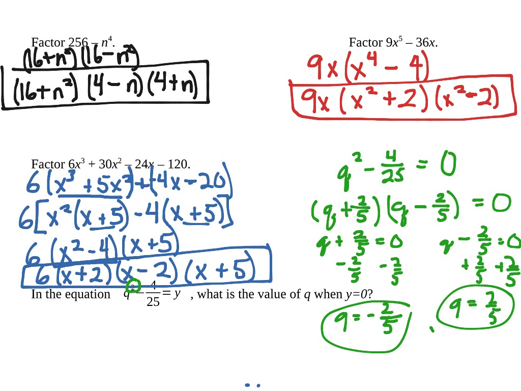 8 8 Algebra Factoring Difference Of Squares