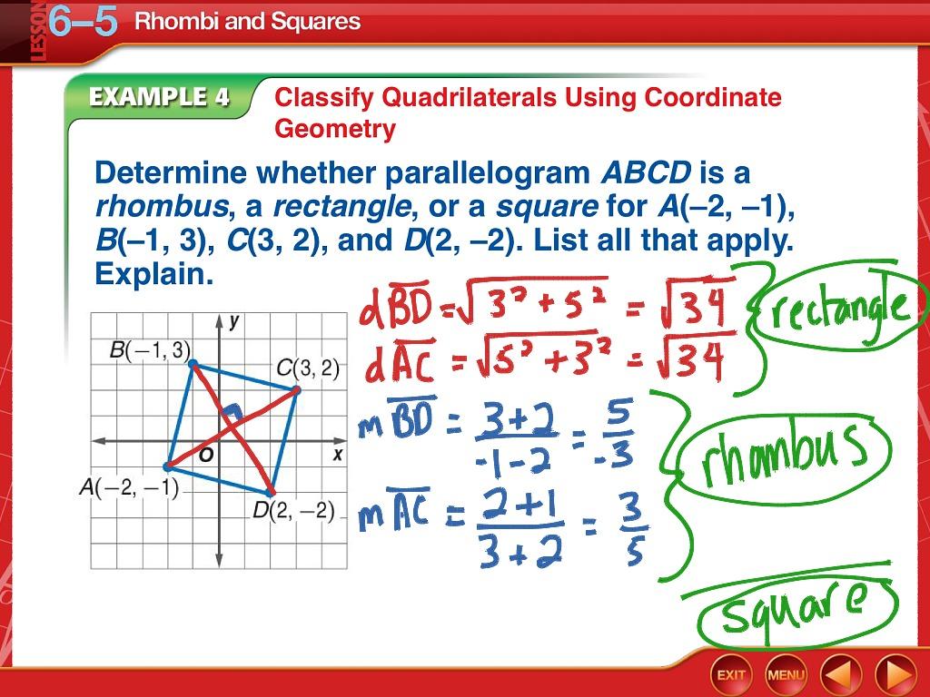 Geometry 6 5 Rhombi And Squares