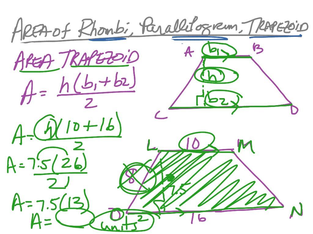 Area Of Parallelogram T Zoid Rhombus