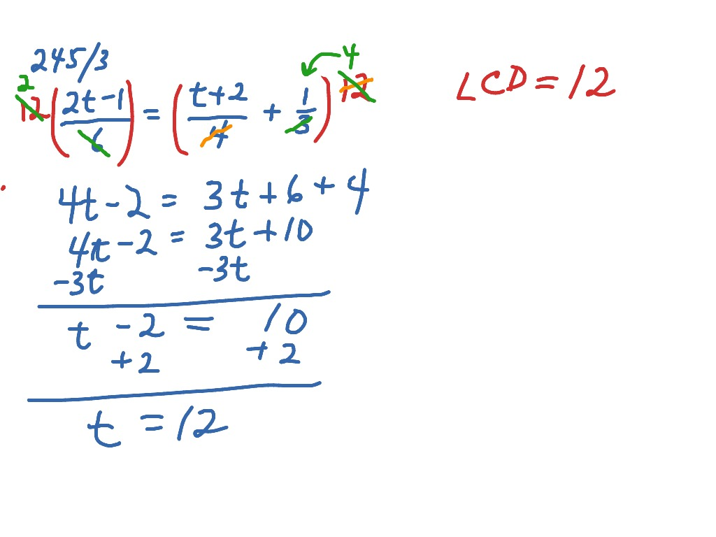 Linear Equations With Fractions And Brackets
