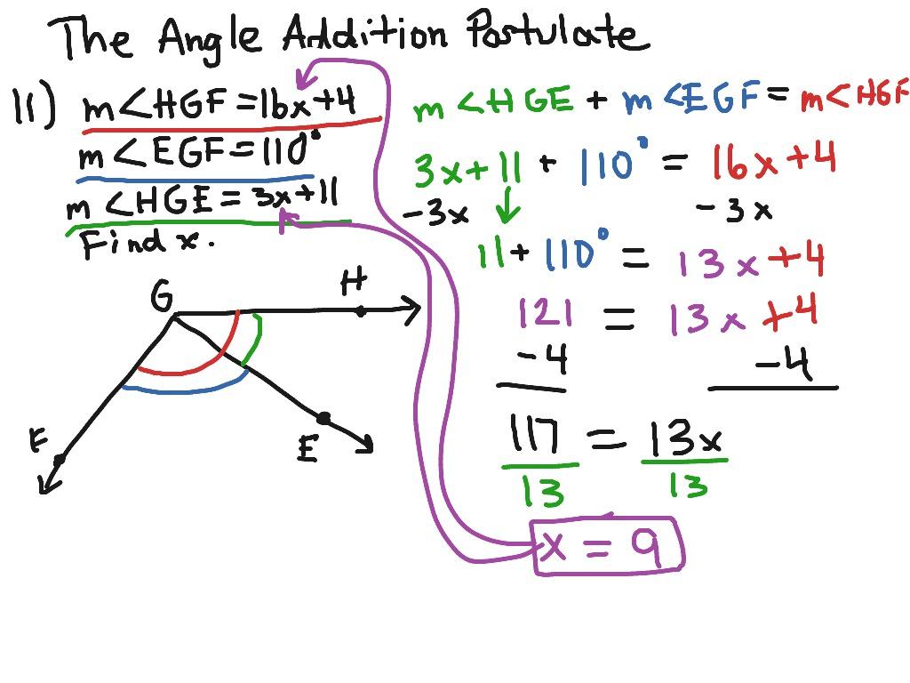 The Angle Addition Postulate