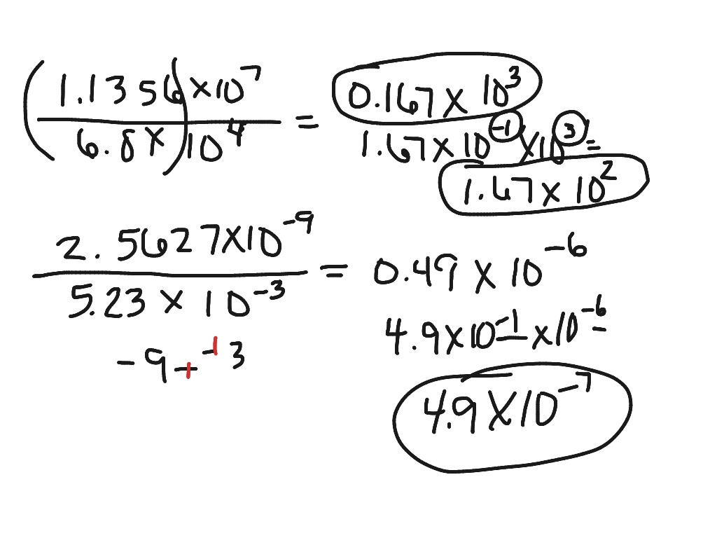 Multiplying And Dividing With Scientific Notation