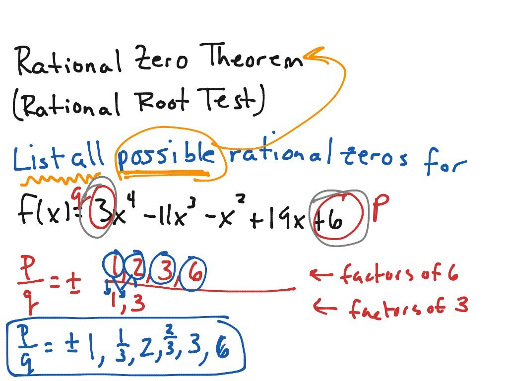 Rational Zero Theorem Rational Root Test Mac Sec 3