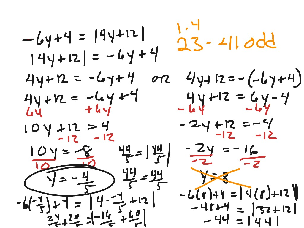Alg 2 1 4 Solving Absolute Value Equations