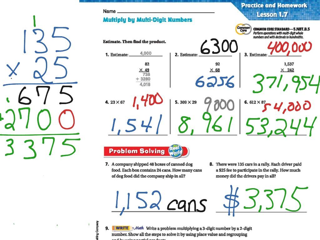Go Math Lesson 1 7 Multi Digit Multiplication