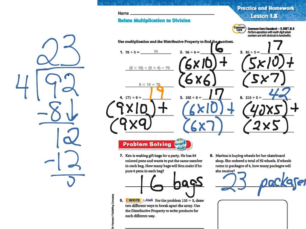 Distributive Property For Dividing Go Math 1 8