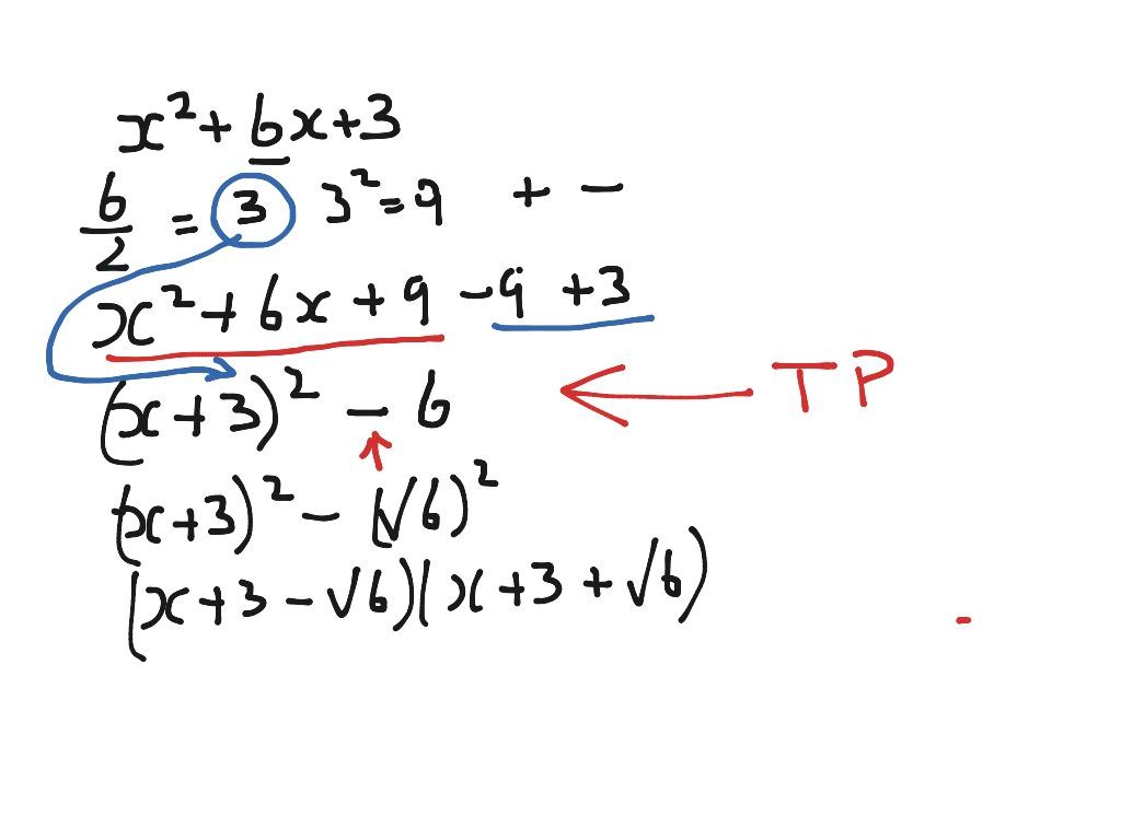 Factorise Quadratic Complete The Square Method