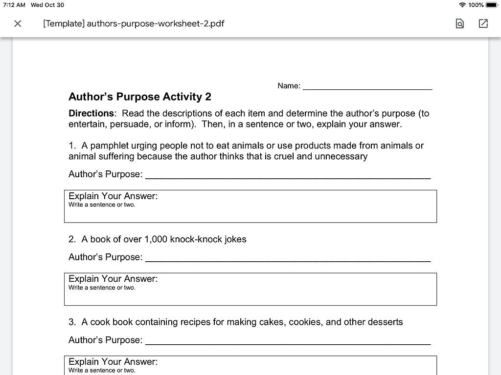 Author S Purpose Worksheet 2