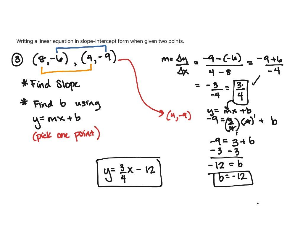Writing Linear Equations Using Slope Intercept Form