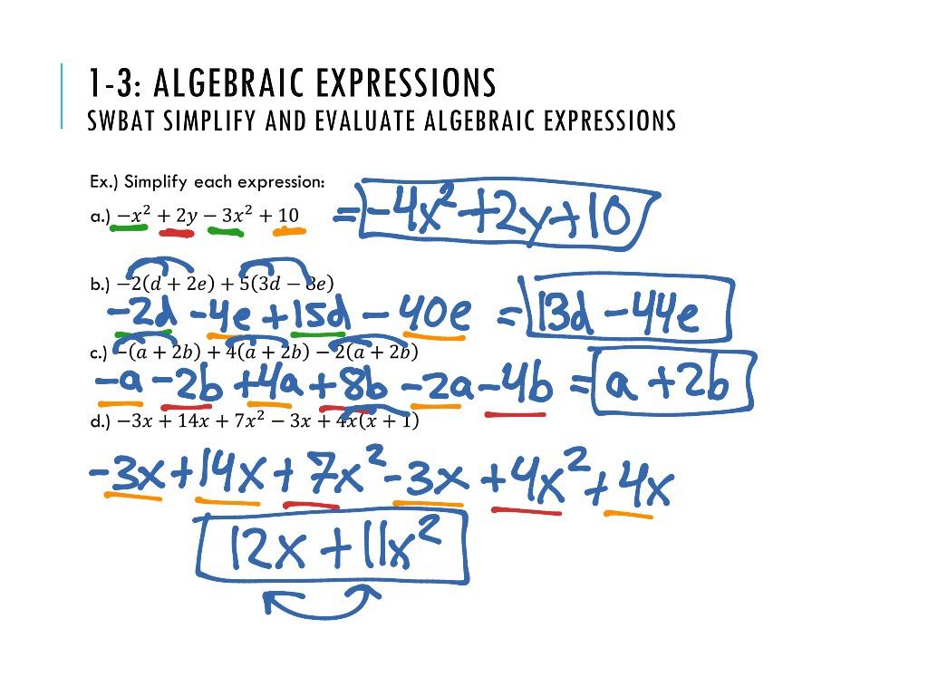 1 3 Algebraic Expressions Alg2b