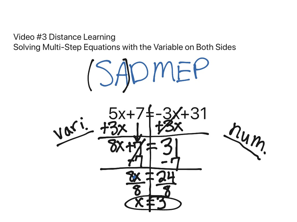 Solving Multi Step Equations With The Variable On Both