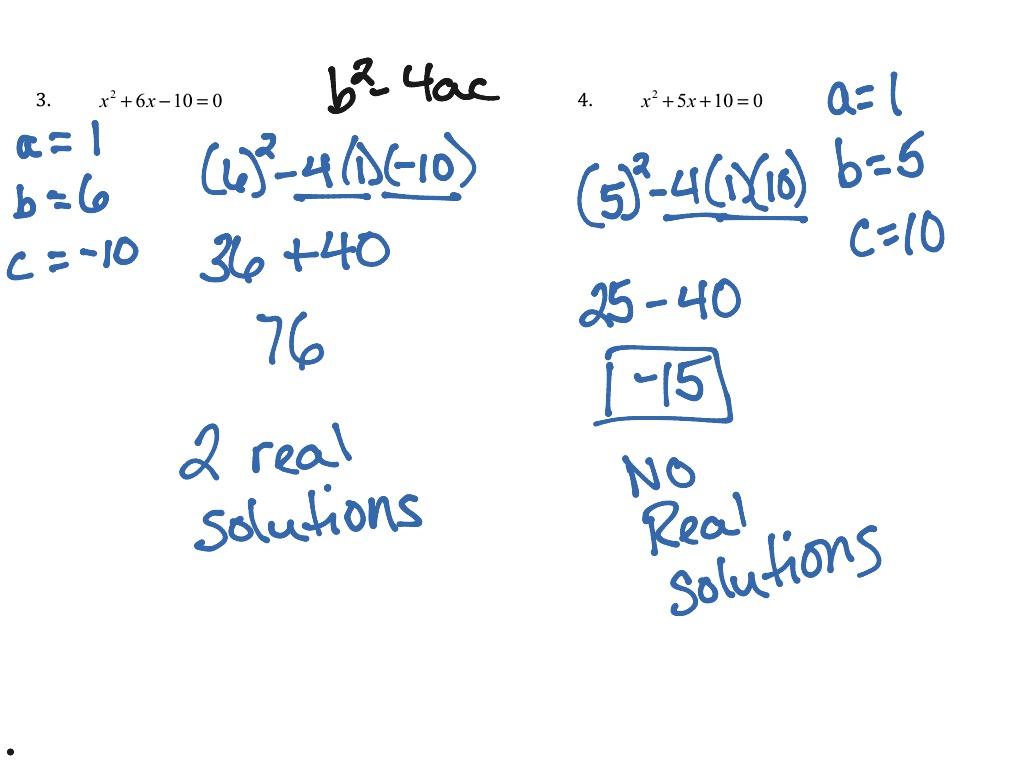 Quadratic Formula Notes