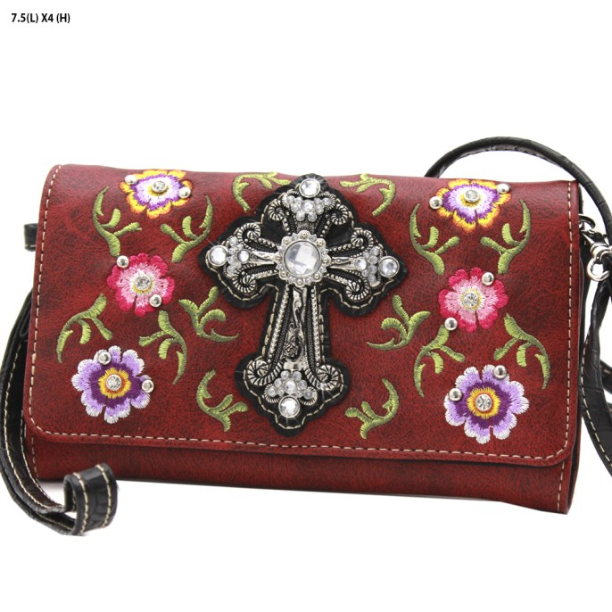 Western Cross Red Roses 3 in 1 Wristlet Crossbody Wallet